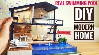 Video DIY Miniature Modern Party Home (with Real Swimming Pool) MP3, 3GP, MP4, WEBM, AVI, FLV Januari 2019