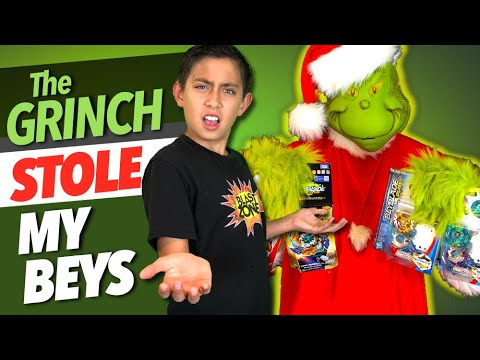 The Grinch Stole My Beyblades!  Funny Movie Spoof & Beyblade Games