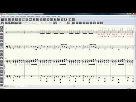 Morrowind/Skyrim Metal Theme Sheet Music + Audio (Piano, Drums, Electric Bass)
