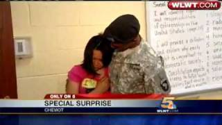 Kayla thought it was a normal day at school at Cheviot Elementary. Her fathers surprise homecoming from Afghanistan was the last thing she expected!