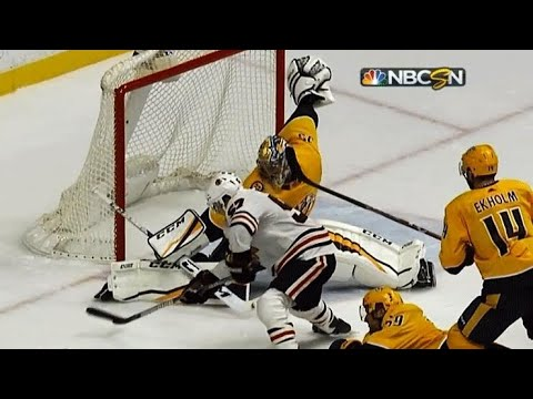 Video: Pekka Rinne stretches out, robs Tommy Wingels with enormous pad save