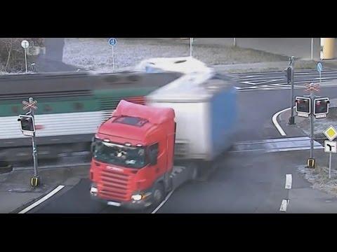 Crash truck on rail crossing
