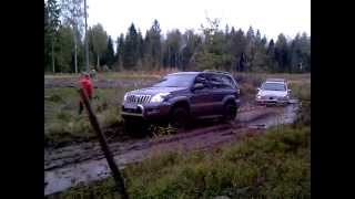 Toyota LC 120 Towing Mercedes ML400 Brabus Through The Mud!
