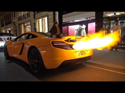 mclaren 12c shooting huge flames + melted bumper