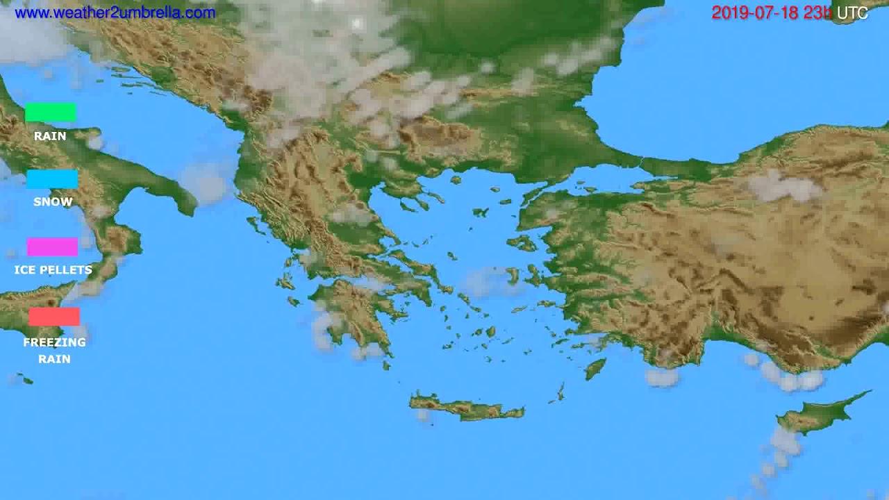 Precipitation forecast Greece // modelrun: 12h UTC 2019-07-15