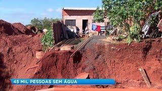 Adutora rompe e deixa 45 mil pessoas sem água em Paraguaçu Paulista