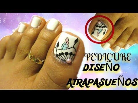 Decorados de uñas - Diseño atrapasueño uñas de los pies decoradas/Catch dreamer  pedicure by step