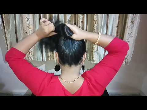 Easy hairstyles - 2 Min Easy Everyday Top Messy Bun Hairstyle  how to do a messy bun  hair bun  messy bun