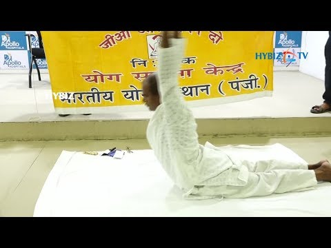 , Hip replacement patient demonstrates yoga
