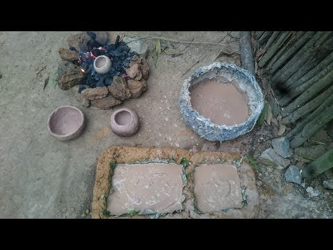 Primitive technology:Pottery-Bucket Water For Birds Part1-Primitive life-wilderness