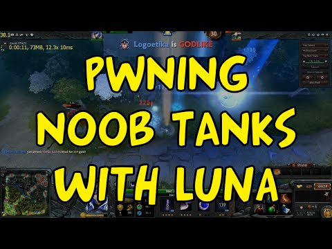 DOTA 2 Reborn - Luna Gameplay 12/1/8 - Noob tank rushers owned (10 early kills)