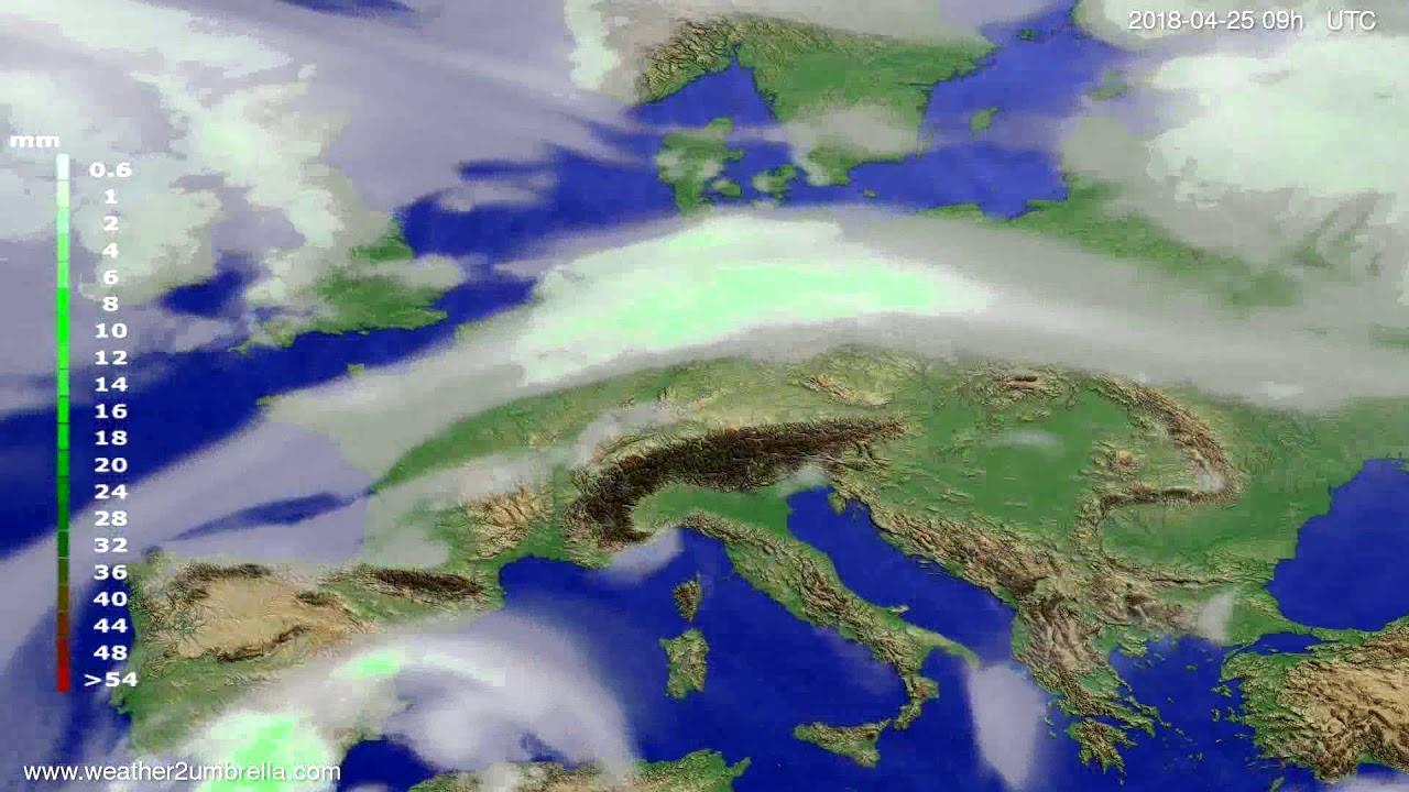 Precipitation forecast Europe 2018-04-21