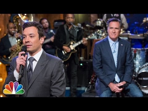 romney - Gov. Mitt Romney joins Jimmy Fallon and the Roots to slow jam the news. Subscribe NOW to The Tonight Show Starring Jimmy Fallon: http://bit.ly/1nwT1aN Watch ...
