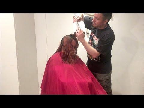 "Hairdresser - Long graduation ""A shag haircut"" on thick curly hair"