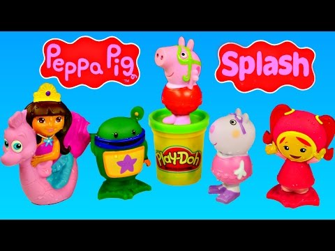 toys - Peppa Pig Cartoon TV Show Characters Team Umizoomi Nickelodeon Nick Jr. and Dora The Explorer Kid Water Bath Squirters. Nickelodeon Team Umizoomi Water Squirting Friends Milli Bot Squiddy and...