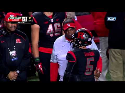 Rutgers QB spikes the ball on fourth down, instantly losing the game.