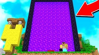 BUILDING THE WORLD'S BIGGEST NETHER PORTAL! (Minecraft BED WARS Trolling)