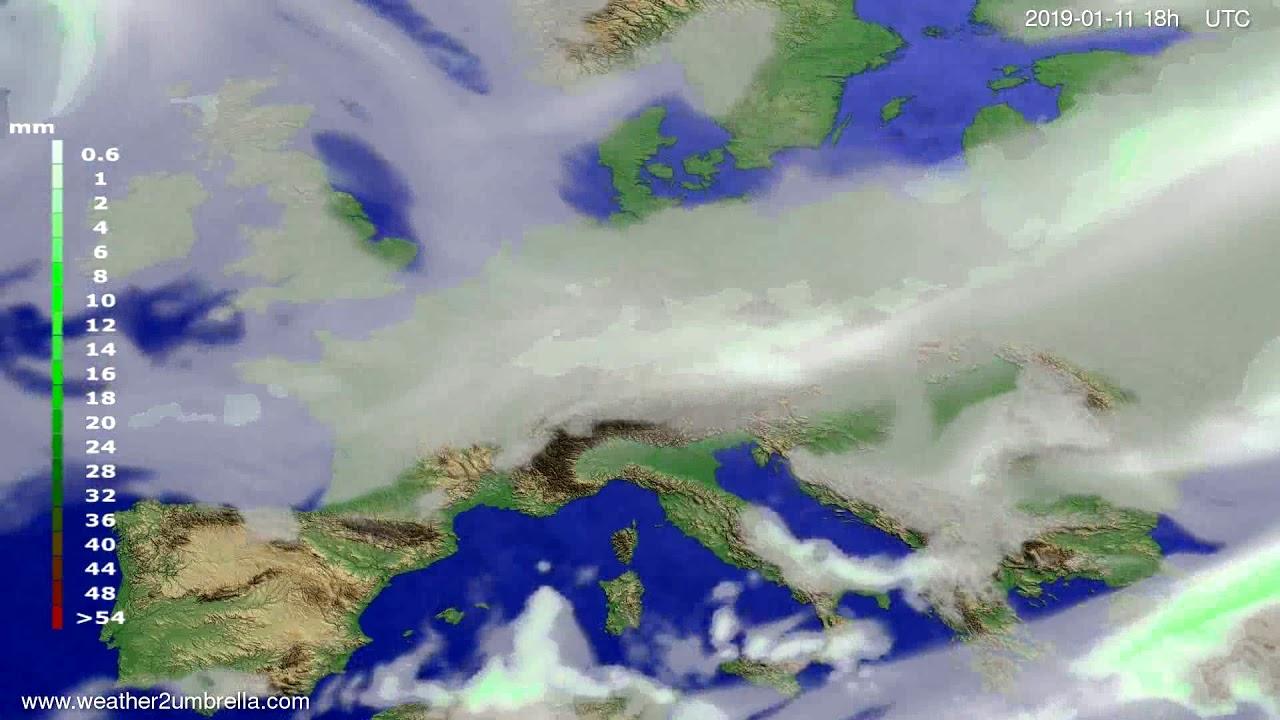 Precipitation forecast Europe 2019-01-08