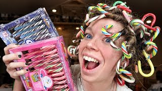 CAN IT CURL!? Candy Canes!   Curling my Hair with Candy Canes! by GRAV3YARDGIRL