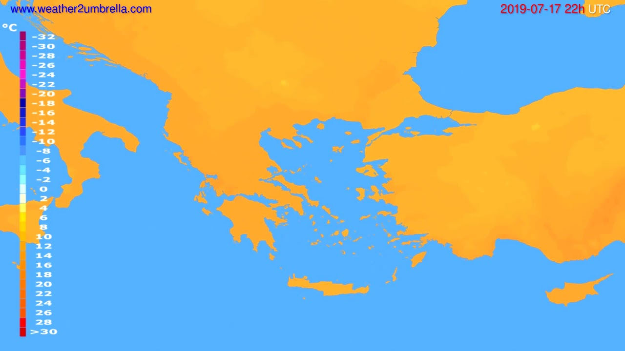 Temperature forecast Greece // modelrun: 00h UTC 2019-07-15