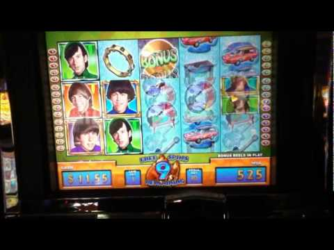 "THE MONKEES Slot Machine with BONUS RETRIGGERED and a ""BIG WIN"" Las Vegas Casino"
