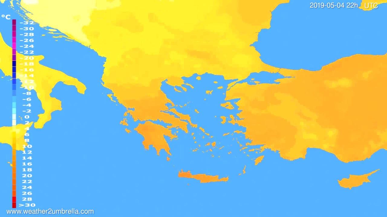 Temperature forecast Greece // modelrun: 00h UTC 2019-05-02