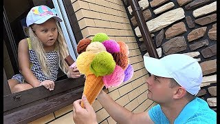 Alice  play in playhouse with plastic ice cream