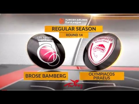 EuroLeague Highlights RS Round 14: Brose Bamberg 82-68 Olympiacos Piraeus