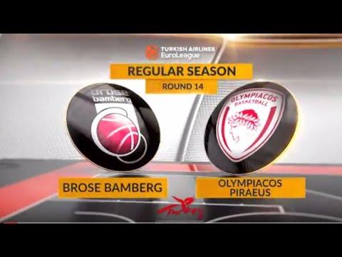 EuroLeague Highlights RS Round 14: Brose Bamberg 82-68 Olympiacos Piraeus
