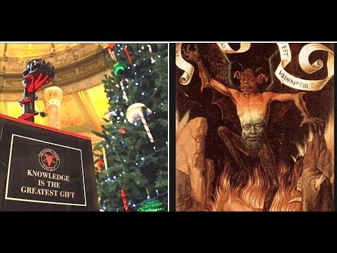 Satan's Showing Off His Forbidden Fruit Inside Illinois Capitol Building, Next To Christmas Tree