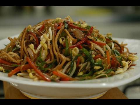 Stir-Fried Noodles With Vegetables And Sprouts