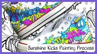 Sunshine Kicks DIY Custom Converse Hi Tops Process Painting - YouTube
