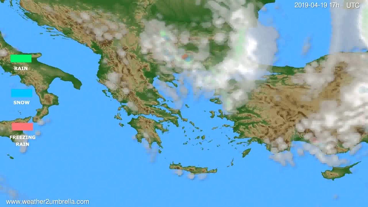 Precipitation forecast Greece // modelrun: 00h UTC 2019-04-18