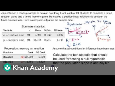 Calculating T Statistic For Slope Of Regression Line Video