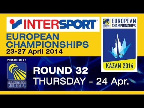 Scott - Event: 2014 INTERSPORT European Championships - Round 32 Date: 23 April 2014 - 27 April 2014 Venue: Kazan, Russia Player: Viktor Axelsen (DEN) vs Scott Evans (IRL) Category: Men's Singles ...