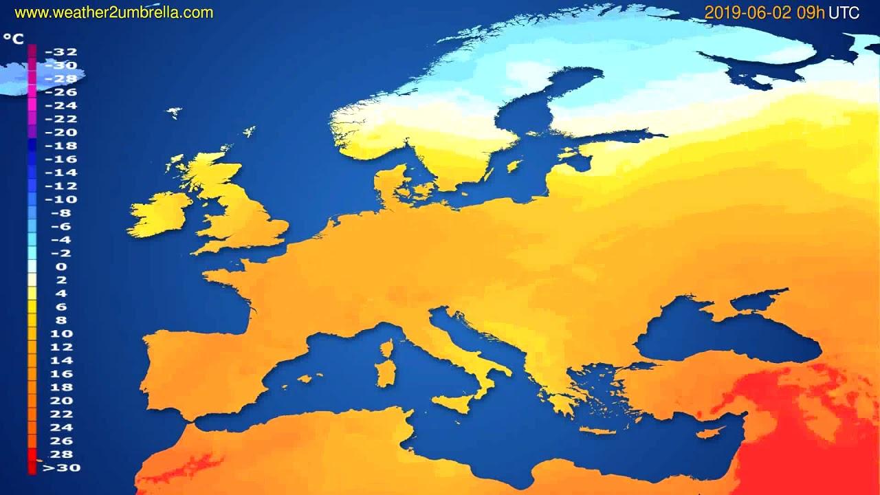 Temperature forecast Europe // modelrun: 00h UTC 2019-05-31