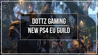 """This video is an announcement that we have expanded our social guild to the PS4 EU server for the Elder Scrolls Online! To join the guild, whisper or send mail to @C10UD_R1DERDX for an invite! Do note that the """"O"""" in his name is a zero, i made a mistake on that in the video.Watch Next: https://www.youtube.com/watch?v=yHZF9PLlAOQ-----------------------------------------------------FOLLOW me on Twitter: https://twitter.com/DottzGamingLIKE me on Facebook: https://www.facebook.com/dottzgamingFEEL the Pulse - Catalyst Energy Mints: https://www.catalystmints.com/store?t=dottzgamingBUY CHEAP Video Games: https://www.g2a.com/r/dottzgaming JOIN Curse's Union For Gamers: https://www.unionforgamers.com/apply?referral=lch0v7uxswg3f4PC Specs & Peripherals: http://pastebin.com/xkfeAVWpDISCORD Server: https://discord.gg/abJm2NfDONATE to Support the Channel: https://youtube.streamlabs.com/dottzgaming#/SUPPORT the channel through Patreon: https://www.patreon.com/dottzgaming -----------------------------------------------------DISCLAIMER:  The gameplay and images associated with Elder Scrolls Online are taken from the Elder Scrolls series of video games created and owned by ZeniMax Online Studios and Bethesda Softworks, the copyright of which is held by ZeniMax Online Studios and Bethesda Softworks.  All trademarks and registered trademarks present in the gameplay and images associated with Elder Scrolls Online are proprietary to ZeniMax Online Studios and Bethesda Softworks, and the inclusion of them in this video does not imply affiliation with Dottz Gaming.  The use of the gameplay and associated Elder Scrolls Online images in this video and any present in the thumbnail are believed to fall under the """"fair use"""" clause of the United States of America copyright law."""
