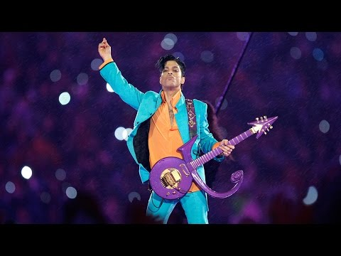 "Prince Performs ""Purple Rain- During Downpour - Super Bowl"