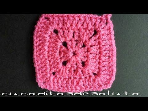 cuadritos a crochet - Cuadrado de la abuelita , paso a paso,de punto alto,es muy fácil de hacer incluso para principiantes, saludos y buen crochet :)