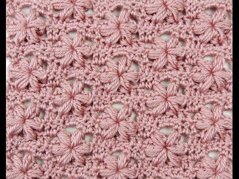 uncinetto - variazione del punto puff con fiori