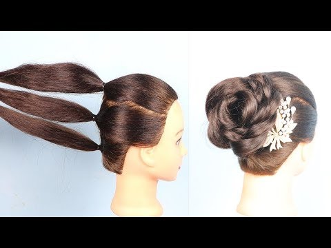 Hairstyles for short hair - Beautiful Rose bun hairstyle with trick  flower bun  wedding hairstyle  hair style girl