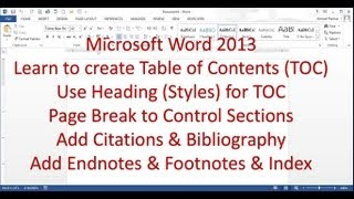 Microsoft Word 2013 pt 7 (Table of Contents, Bibliography, Endnote, Index)