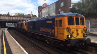 2. Pure Class 73/9 Thrash - 73962 Blasts out of Tunbridge Wells Towing 66760 + 66742 + 66725, 25/5/15.