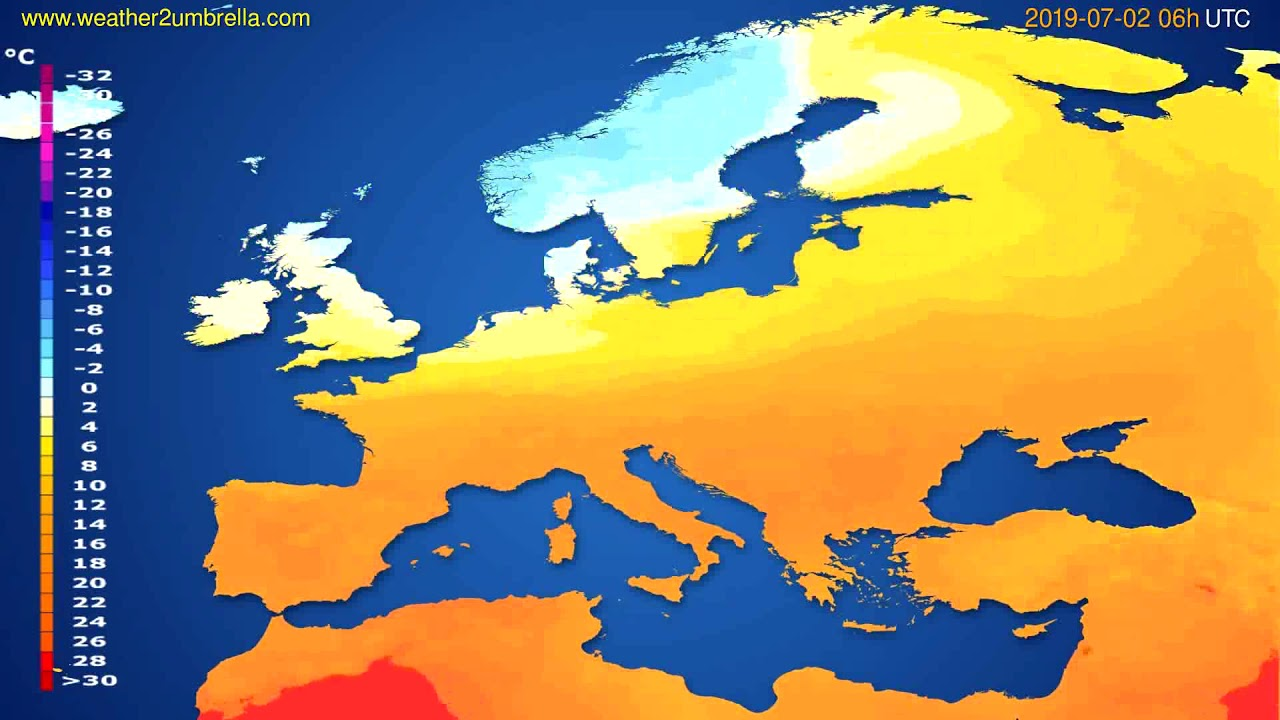 Temperature forecast Europe // modelrun: 12h UTC 2019-06-29