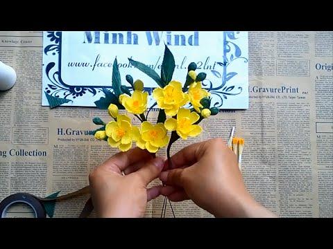 Đón Tết rực rỡ sắc màu cùng cách làm hoa mai bằng giấy nhún đơn giản