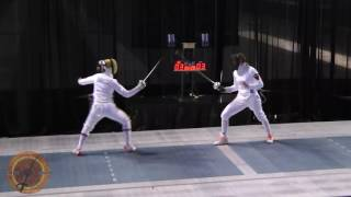 This is a semifinal bout in the women's epee event at the NCAA fencing championships in Indianapolis, Indiana. Anna Van Brummen of Princeton University is on the right and Amanda Sirico of The University of Notre Dame is on the left.