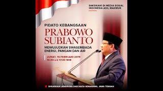 """Video Pidato Kebangsaan Prabowo Subianto  """"Mewujudkan Swasembada Energi, Pangan & Air"""" MP3, 3GP, MP4, WEBM, AVI, FLV Februari 2019"""