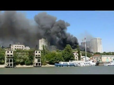 Крупный пожар в Ростове на Дону попал на видео - DomaVideo.Ru