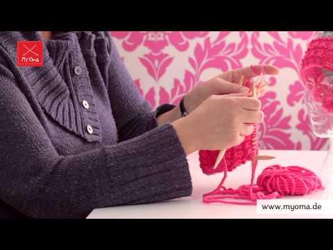 Stricken lernen mit den Omas – DIY Beanie Mütze für Anfänger 4/7: Linke Maschen stricken