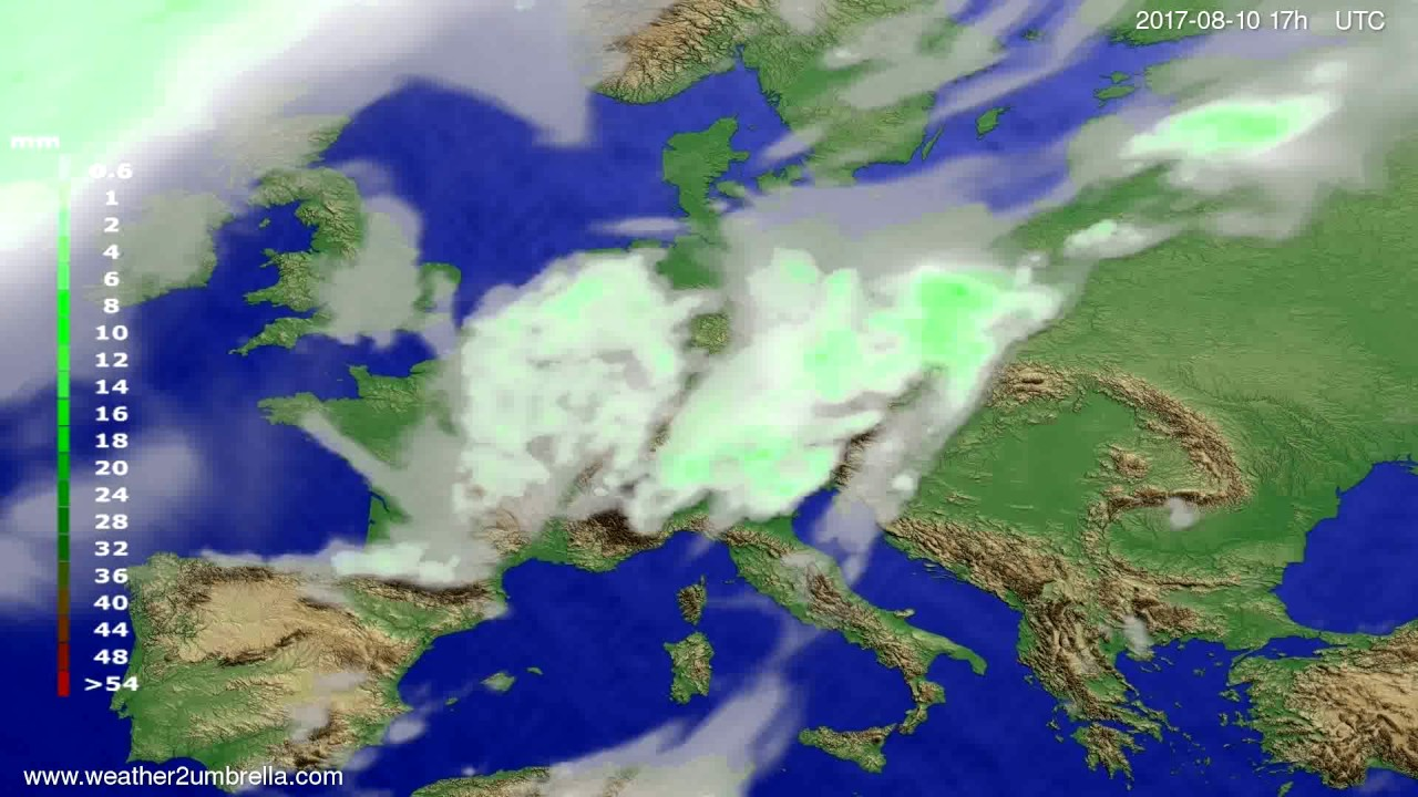 Precipitation forecast Europe 2017-08-08